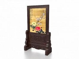 Antique wood room divider stand 3d model