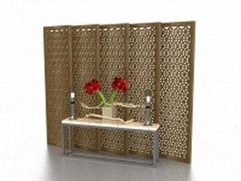 Antique oriental screens room dividers 3d model