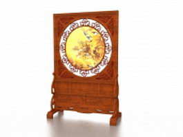 Carved wood screen stand 3d model