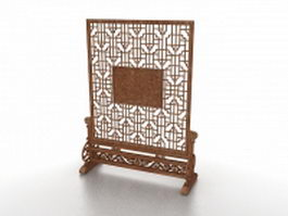 Antique room screen stand 3d model