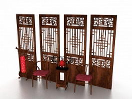 Antique Chinese furniture and screen 3d model