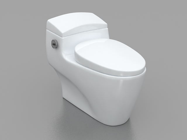 One piece bathroom toilet 3d model 3ds max files free for Bathroom design 3d model