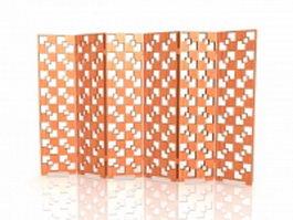 Wood lattice folding screen 3d preview