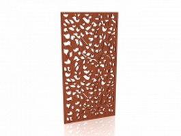 Wood wall screen panel 3d model