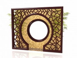Antique Chinese garden screen 3d model