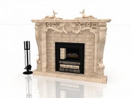 Marble tile fireplace with sculpture 3d model
