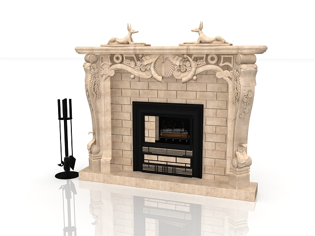 Marble Tile Fireplace With Sculpture 3d Model 3ds Max