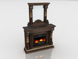 Antique dresser fireplace 3d model