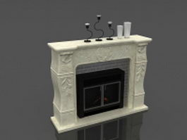 White fireplace with mantel decorations 3d model