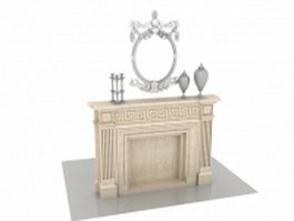 Marble fireplace mantels with decorations 3d model
