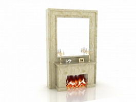 Mirrored wall fireplace 3d model