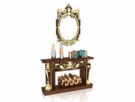 Brown fireplace mantels with bookcase 3d model