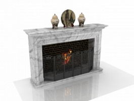 White fireplace with decorations 3d model