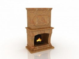 Outdoor stone fireplace 3d model