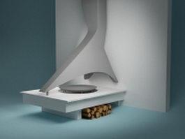 Vintage stove wood heater 3d model