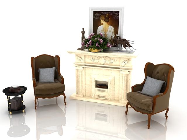 living room furniture 3d model free download