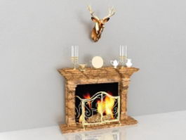 Decorating fireplace mantels with deer head 3d model
