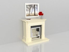 Decorating fireplace mantels with painting 3d model