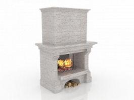 Grey stone fireplace 3d model