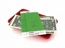 American dollar bills 3d model