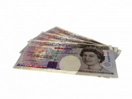 British pound notes 3d model