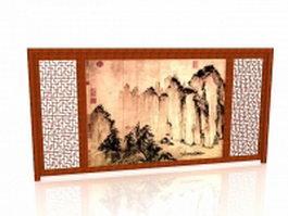 Antique wood accent wall 3d model