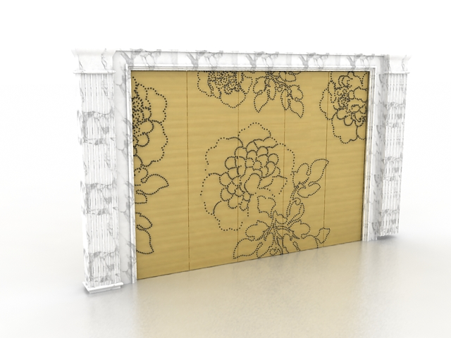White marble feature wall 3d model