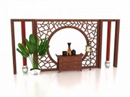Antique Chinese feature wall 3d model
