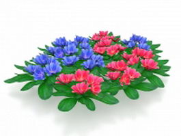 Blue and red flower plants 3d model