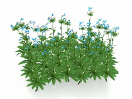 Blue flowers plants 3d model