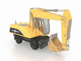 Wheeled excavator 3d model