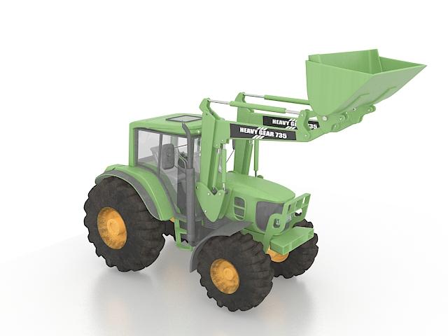 Front loader 3d rendering