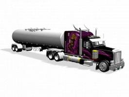 Heavy truck tank trailer 3d model