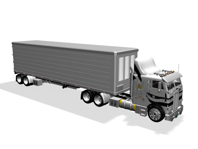 Semi Trailer Truck 3d Model 3ds Max Files Free Download Modeling
