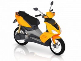 Yellow moped scooter 3d model