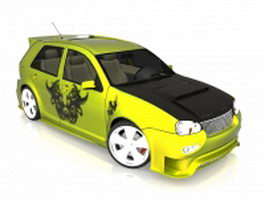 Small yellow car 3d model