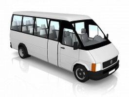 White minibus 3d model