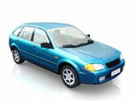 Blue hatchback car 3d model
