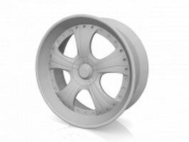 Spoked steel wheel 3d model