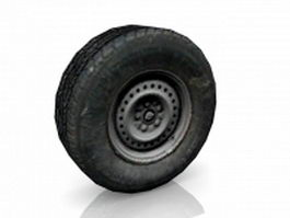 Truck wheel and tire 3d model