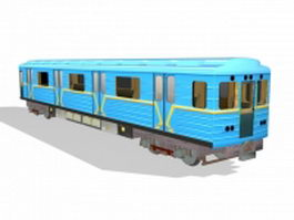 Blue train passenger car 3d model