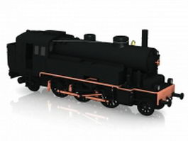 Black steam locomotive 3d model