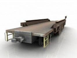 Train flat car 3d model