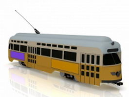 Yellow electric tram 3d model