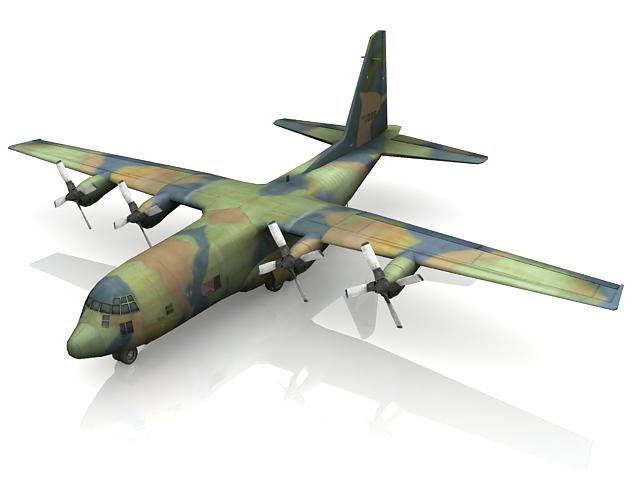 C-130 Hercules military transport aircraft 3d model - CadNav