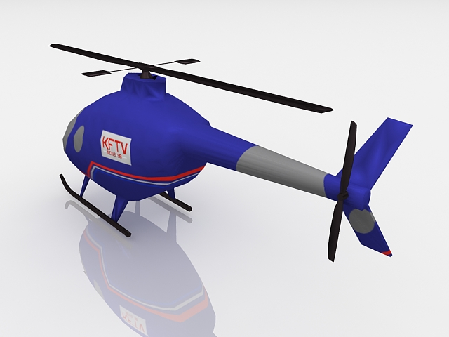 Animated helicopter 3d rendering