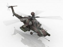 Animated attack helicopter 3d model
