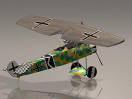Focker D7 fighter plane 3d model