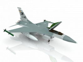 American F-16 jet fighter aircraft 3d model