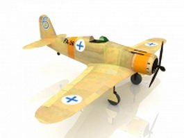 Fiat G.50 fighter aircraft 3d model